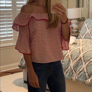 Zara red and white floral off the shoulder blouse
